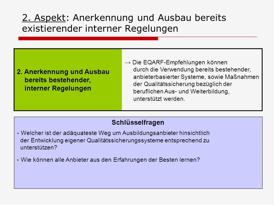 2. Aspekt: Anerkennung und Ausbau bereits existierender interner Regelungen 2. Anerkennung und Ausbau bereits bestehender, interner Regelungen Die EQA
