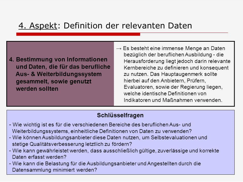 4. Aspekt: Definition der relevanten Daten 4. Bestimmung von Informationen und Daten, die für das berufliche Aus- & Weiterbildungssystem gesammelt, so