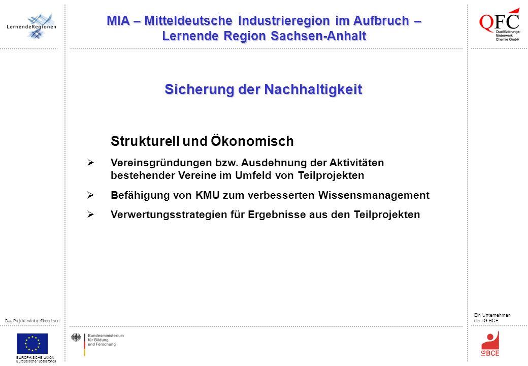 MIA – Mitteldeutsche Industrieregion im Aufbruch – Lernende Region Sachsen-Anhalt EUROPÄISCHE UNION Europäischer Sozialfonds Das Projekt wird gefördert von: Ein Unternehmen der IG BCE Sicherung der Nachhaltigkeit Strukturell und Ökonomisch Vereinsgründungen bzw.