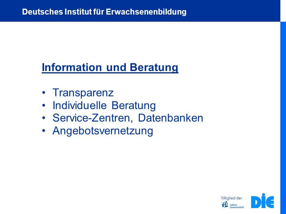 Information und Beratung Transparenz Individuelle Beratung Service-Zentren, Datenbanken Angebotsvernetzung Mitglied der Deutsches Institut für Erwachs