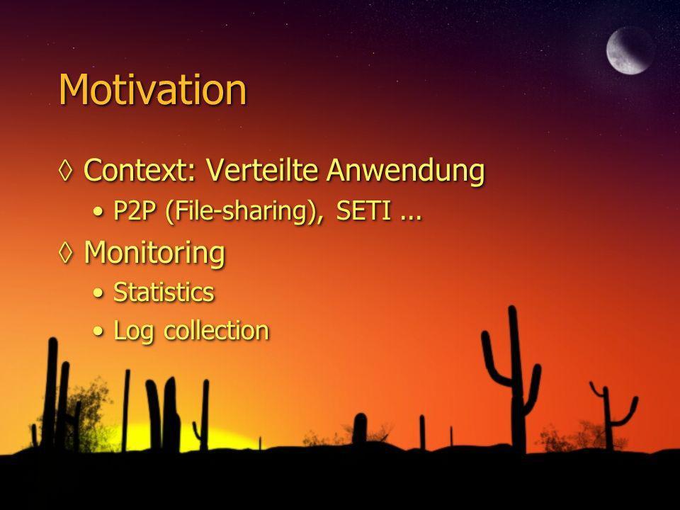 Motivation Context: Verteilte Anwendung P2P (File-sharing), SETI... Monitoring Statistics Log collection Context: Verteilte Anwendung P2P (File-sharin