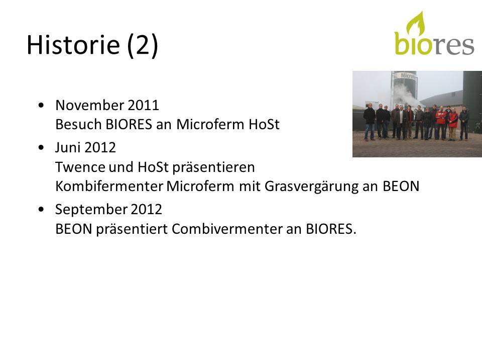 Historie (2) November 2011 Besuch BIORES an Microferm HoSt Juni 2012 Twence und HoSt präsentieren Kombifermenter Microferm mit Grasvergärung an BEON S