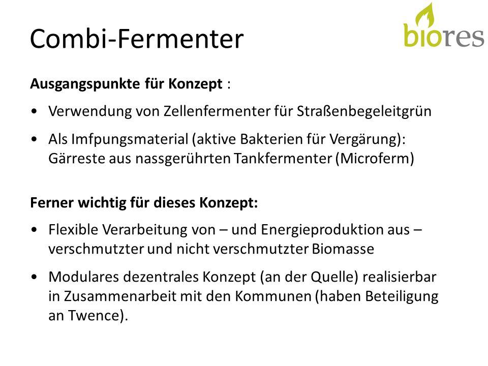 Combi-Fermenter Eigenschaften 11.000 t Bopmasse/a (flüssig, Straßenbegleitgrün) 80-120 Nm3 Biogas/t Nachhaltige Energieproduktion ca.