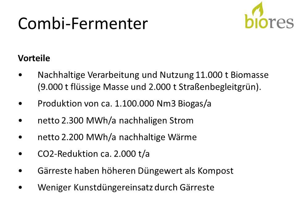 Combi-Fermenter Vorteile Nachhaltige Verarbeitung und Nutzung 11.000 t Biomasse (9.000 t flüssige Masse und 2.000 t Straßenbegleitgrün). Produktion vo