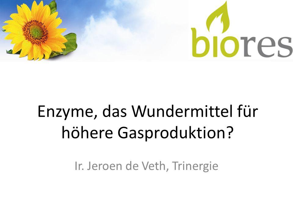 Ziele Enzymprojekt Methoden und Produkte finden um Biomasse schneller abzubauen, sodass: die Fermenter kleiner und kostengünstiger werden (Verweildauer verkürzen); der Energieverbrauch der Biogasanlage abnimmt (niedrigere Viskosität); die Nutzung von Biomasse mit mehr Lignin möglich ist; die Prozessstabilität erhöht wird.