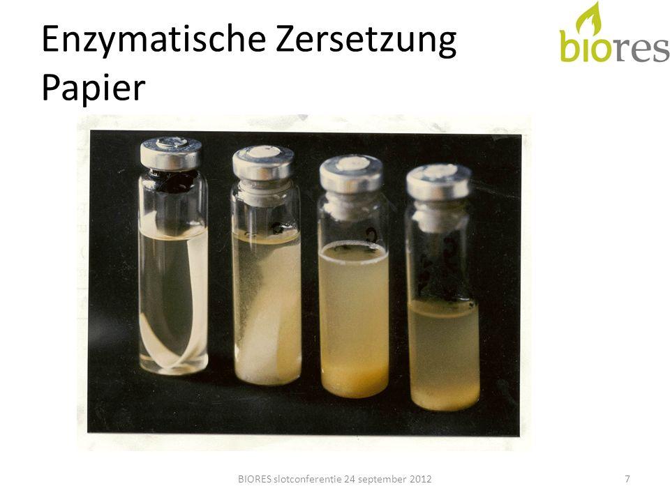 Verschuchsstruktur Teil 1 Enzyme von DSM (Methaplus L100 und B1) Substrate: – Miscanthus – Straßenbegeleitgrün – Szarvasi-1 (leider nicht lieferbar) Batchversuch, ergänzt durch Dauerversuch BIORES slotconferentie 24 september 201218