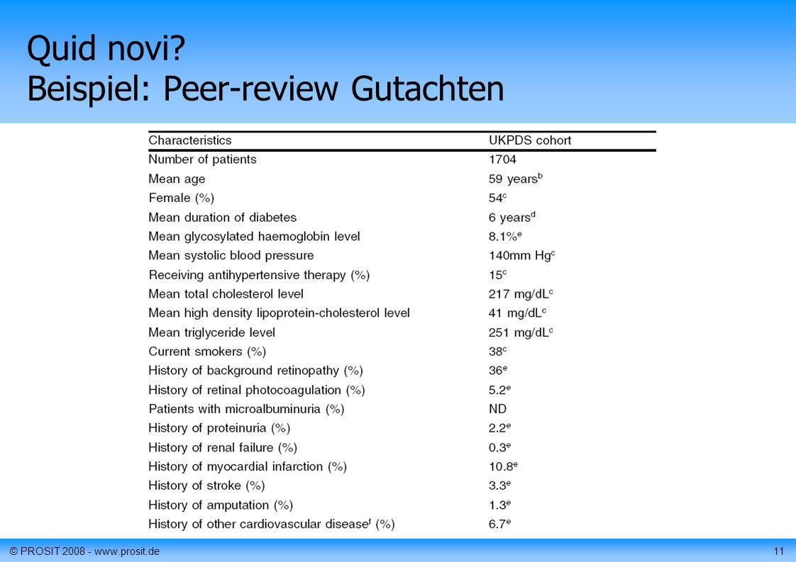 © PROSIT 2008 - www.prosit.de11 Quid novi Beispiel: Peer-review Gutachten