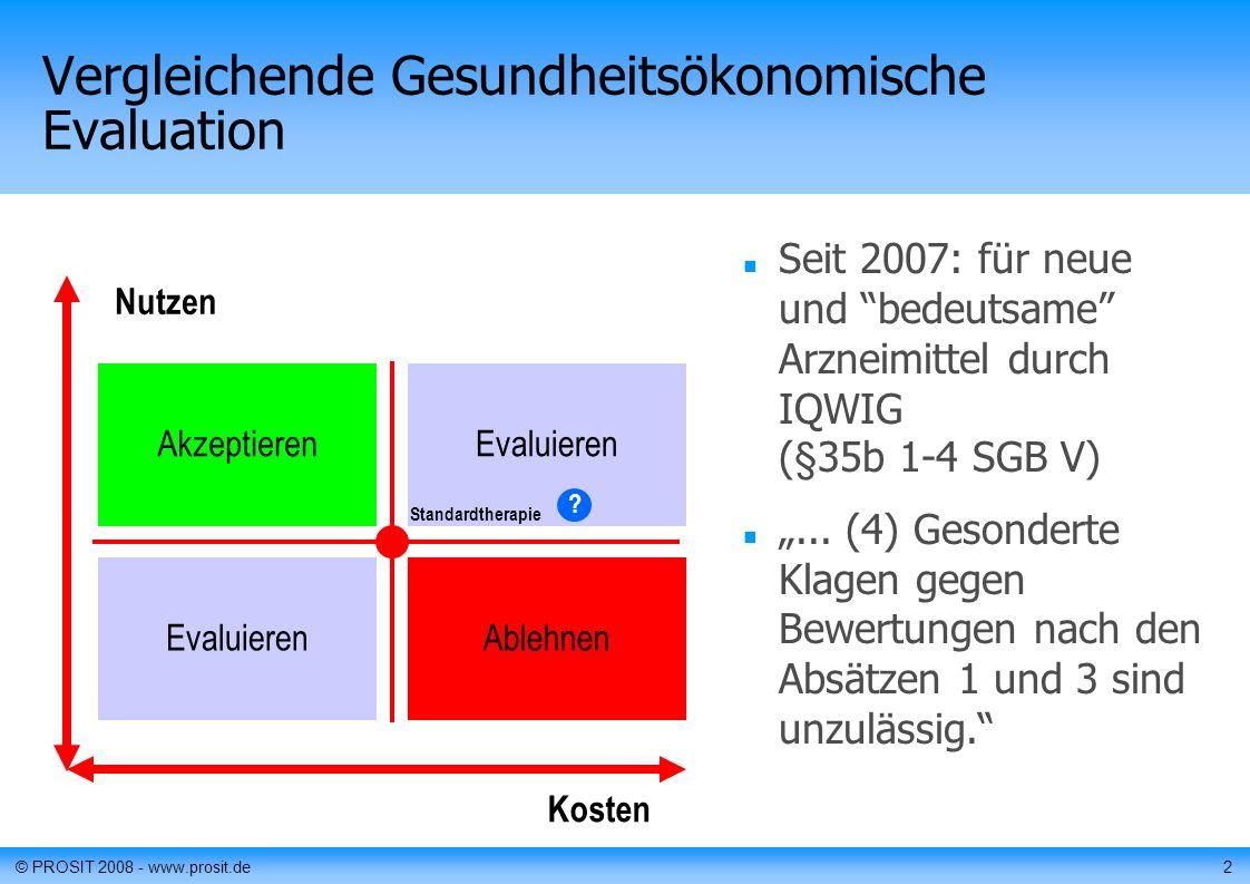 © PROSIT 2008 - www.prosit.de2 Vergleichende Gesundheitsökonomische Evaluation Seit 2007: für neue und bedeutsame Arzneimittel durch IQWIG (§35b 1-4 SGB V)...