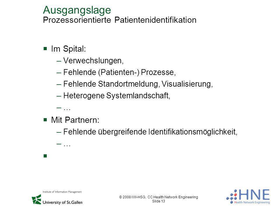 © 2008 IWI-HSG, CC Health Network Engineering Slide 13 Ausgangslage Prozessorientierte Patientenidentifikation Im Spital: – Verwechslungen, – Fehlende