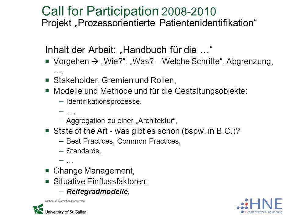 Call for Participation 2008-2010 Projekt Prozessorientierte Patientenidentifikation Inhalt der Arbeit: Handbuch für die … Vorgehen Wie?, Was? – Welche
