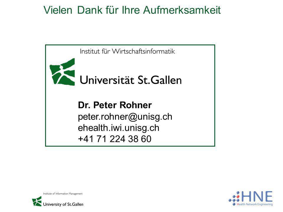 Vielen Dank für Ihre Aufmerksamkeit Dr. Peter Rohner peter.rohner@unisg.ch ehealth.iwi.unisg.ch +41 71 224 38 60