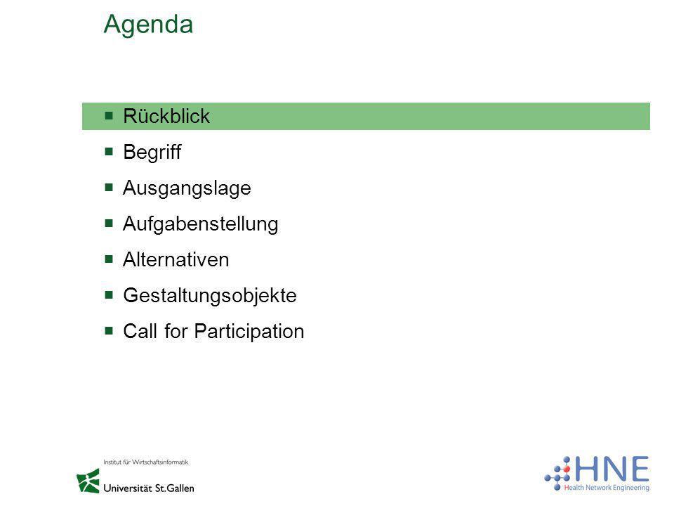 Agenda Rückblick Begriff Ausgangslage Aufgabenstellung Alternativen Gestaltungsobjekte Call for Participation