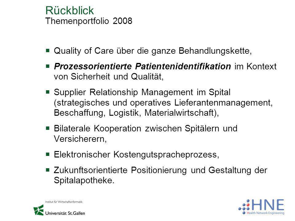 Rückblick Themenportfolio 2008 Quality of Care über die ganze Behandlungskette, Prozessorientierte Patientenidentifikation im Kontext von Sicherheit u