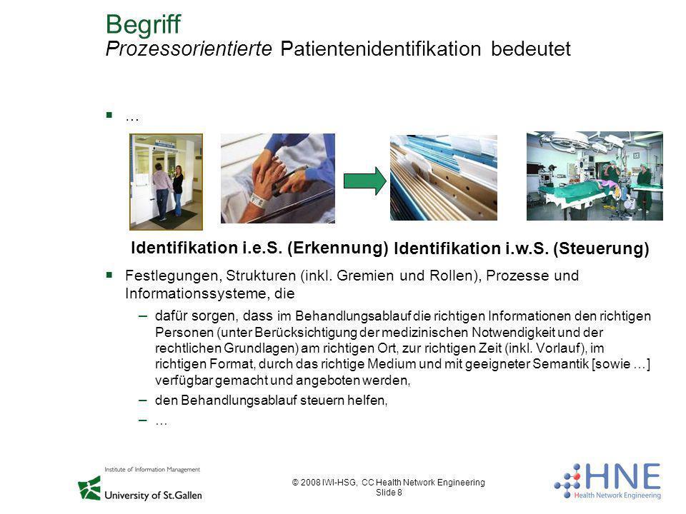 © 2008 IWI-HSG, CC Health Network Engineering Slide 8 Begriff Prozessorientierte Patientenidentifikation bedeutet … Festlegungen, Strukturen (inkl. Gr
