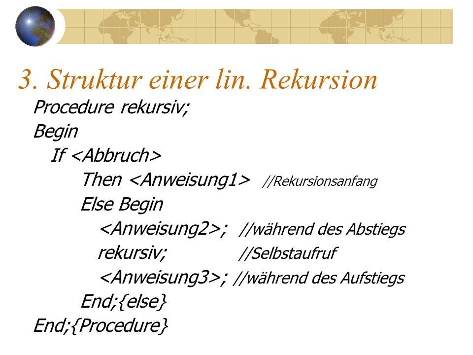 3. Struktur einer lin. Rekursion Procedure rekursiv; Begin If Then //Rekursionsanfang Else Begin ; //während des Abstiegs rekursiv; //Selbstaufruf ; /