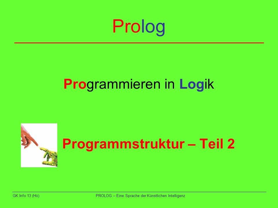 GK Info 13 (Hö)PROLOG – Eine Sprache der Künstlichen Intelligenz Beispiel 2 Diese Regel lautet: einfaerbung(F1,F2,F3,F4):- farbe(F1),farbe(F2),farbe(F3),farbe(F4), F1\=F2,F1\=F4,F2\=F3,F2\=F4,F3\=F4.
