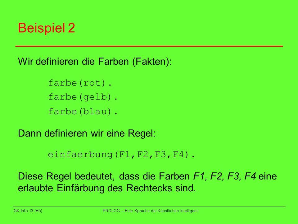GK Info 13 (Hö)PROLOG – Eine Sprache der Künstlichen Intelligenz Beispiel 2 Wir definieren die Farben (Fakten): farbe(rot). farbe(gelb). farbe(blau).