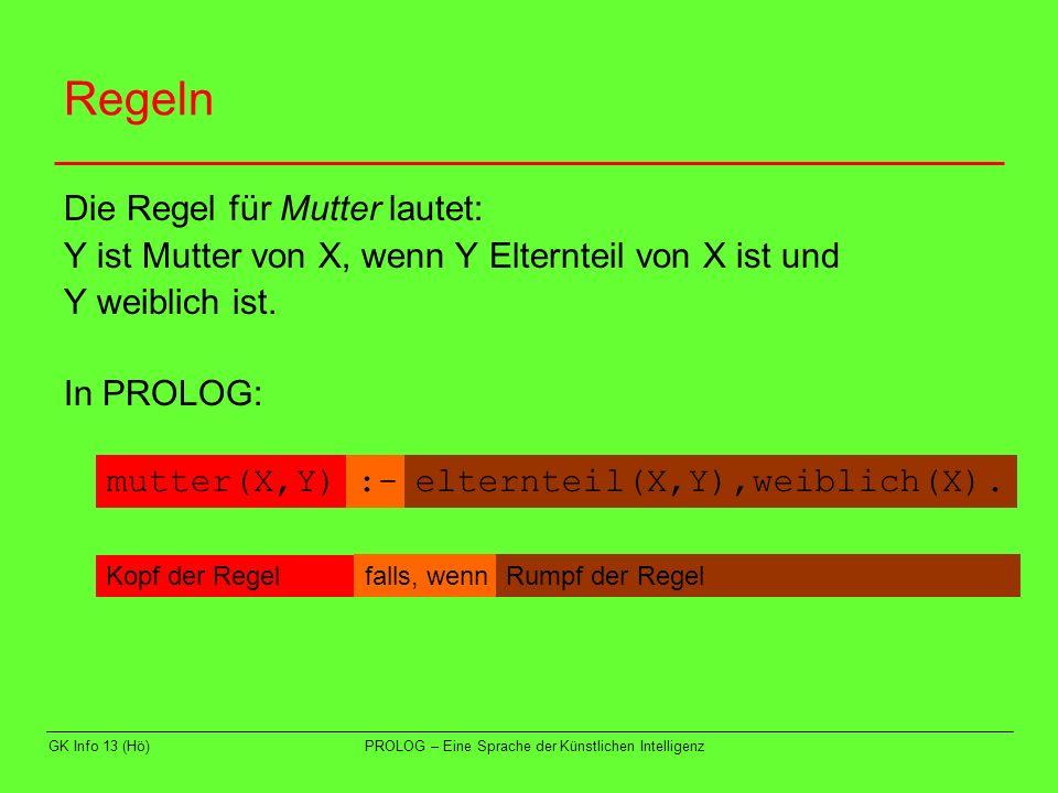 GK Info 13 (Hö)PROLOG – Eine Sprache der Künstlichen Intelligenz Regeln Die Regel für Bruder lautet: Y ist Bruder von X, wenn X und Y die gleiche Mutter und den gleichen Vater haben, Y männlich ist und ungleich X ist.