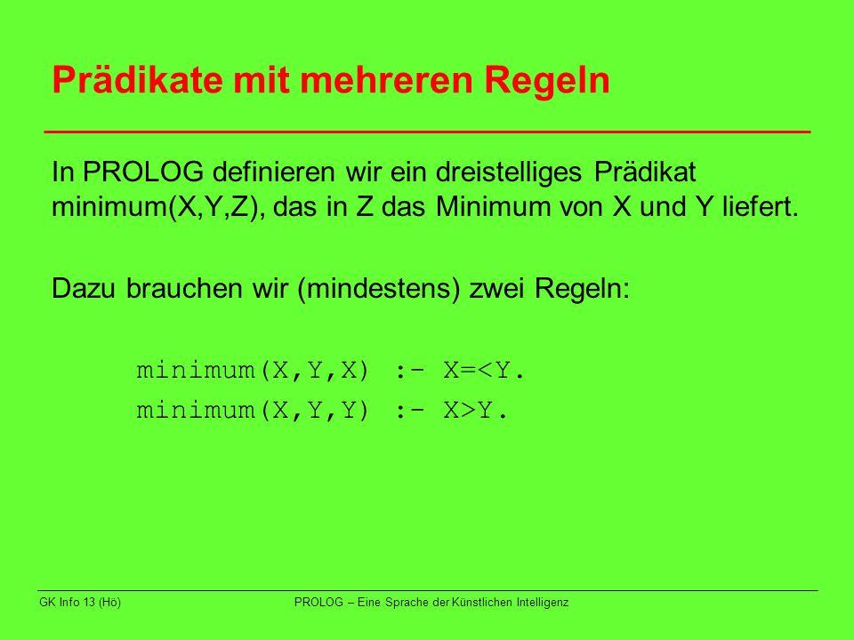 GK Info 13 (Hö)PROLOG – Eine Sprache der Künstlichen Intelligenz Prädikate mit mehreren Regeln In PROLOG definieren wir ein dreistelliges Prädikat min
