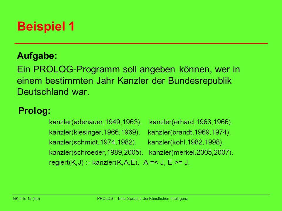 GK Info 13 (Hö)PROLOG – Eine Sprache der Künstlichen Intelligenz Beispiel 1 Aufgabe: Ein PROLOG-Programm soll angeben können, wer in einem bestimmten