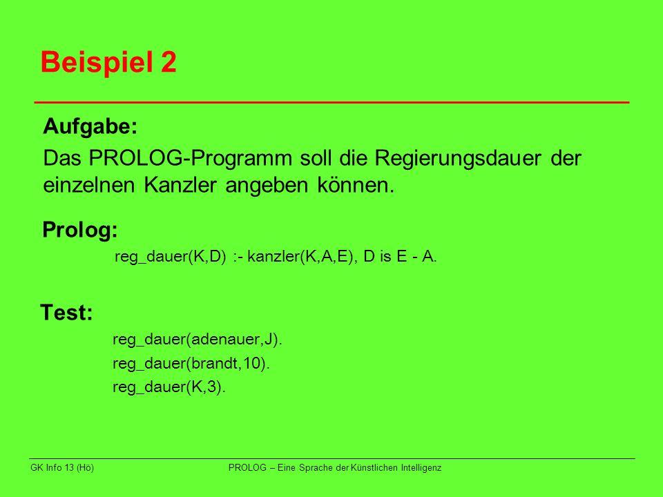 GK Info 13 (Hö)PROLOG – Eine Sprache der Künstlichen Intelligenz Beispiel 2 Test: reg_dauer(adenauer,J). reg_dauer(brandt,10). reg_dauer(K,3). Aufgabe