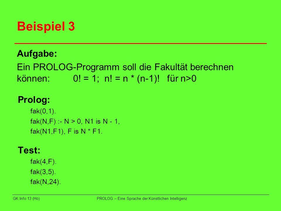 GK Info 13 (Hö)PROLOG – Eine Sprache der Künstlichen Intelligenz Beispiel 3 Aufgabe: Ein PROLOG-Programm soll die Fakultät berechnen können:0! = 1; n!