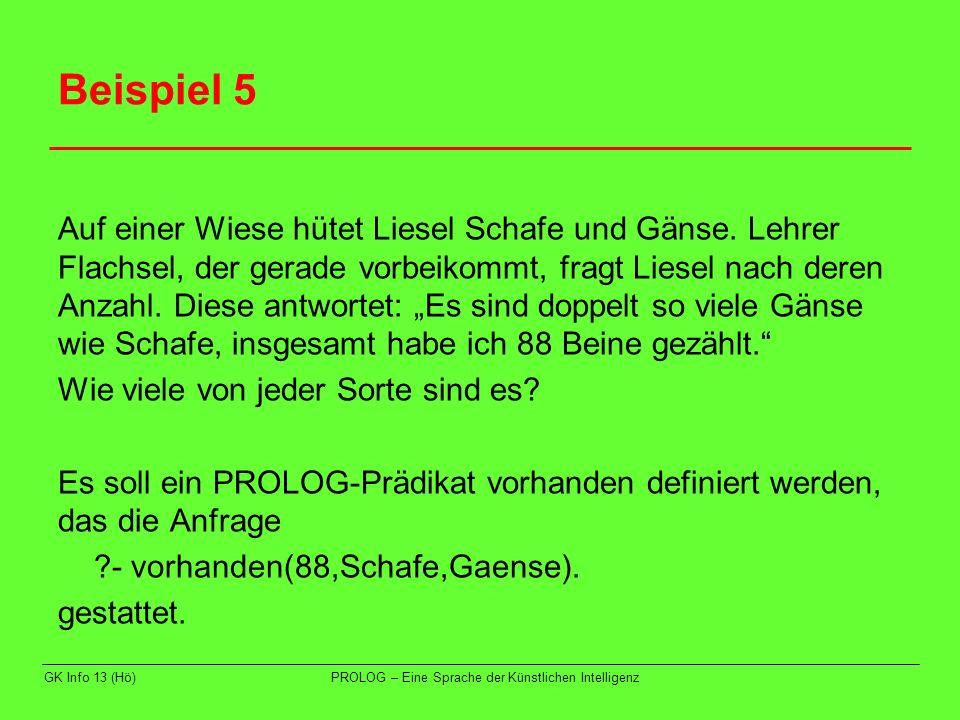 GK Info 13 (Hö)PROLOG – Eine Sprache der Künstlichen Intelligenz Beispiel 5 Idee: zwei Zählschleifen für Schafanzahl und für Gänseanzahl prüfen die beiden Bedingungen Schafe*4 + Gänse*2 = 88 Schafe*2 + Gänse = 0 Prolog: vorhanden(Beine,Schafe,Gaense) :- GS is Beine/4, between(1,GS,Schafe), GG is Beine/2, between(1,GG,Gaense), Beine is Schafe*4 + Gaense*2, Gaense is Schafe*2.