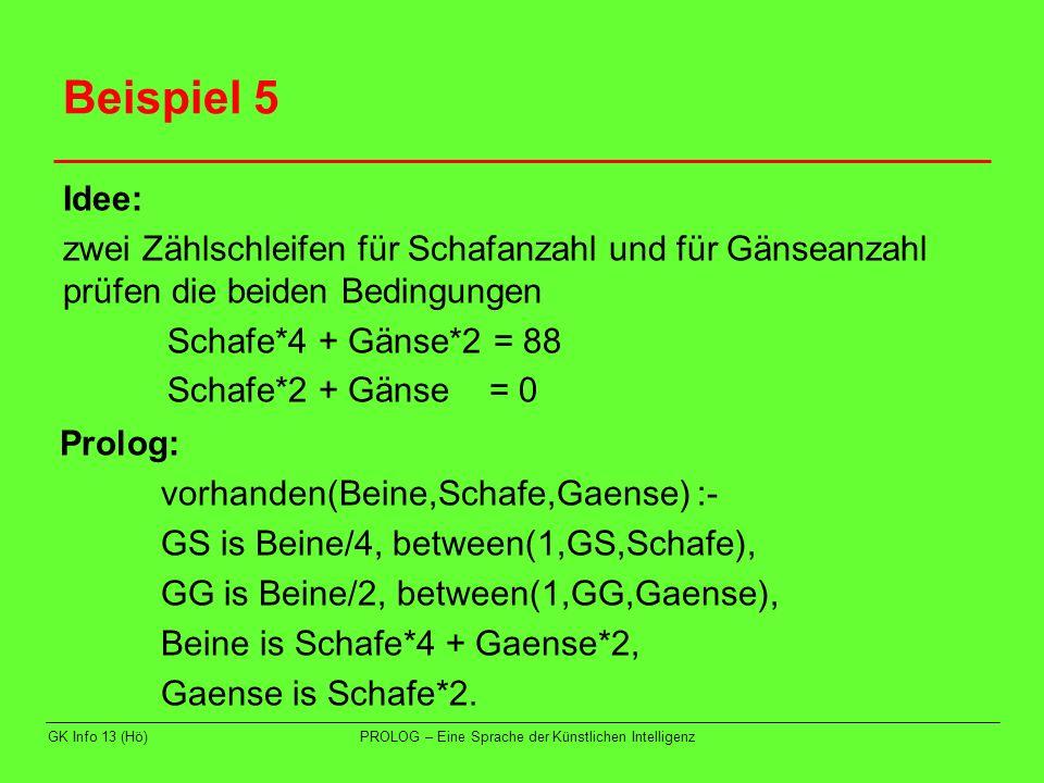 GK Info 13 (Hö)PROLOG – Eine Sprache der Künstlichen Intelligenz Beispiel 5 Idee: zwei Zählschleifen für Schafanzahl und für Gänseanzahl prüfen die be