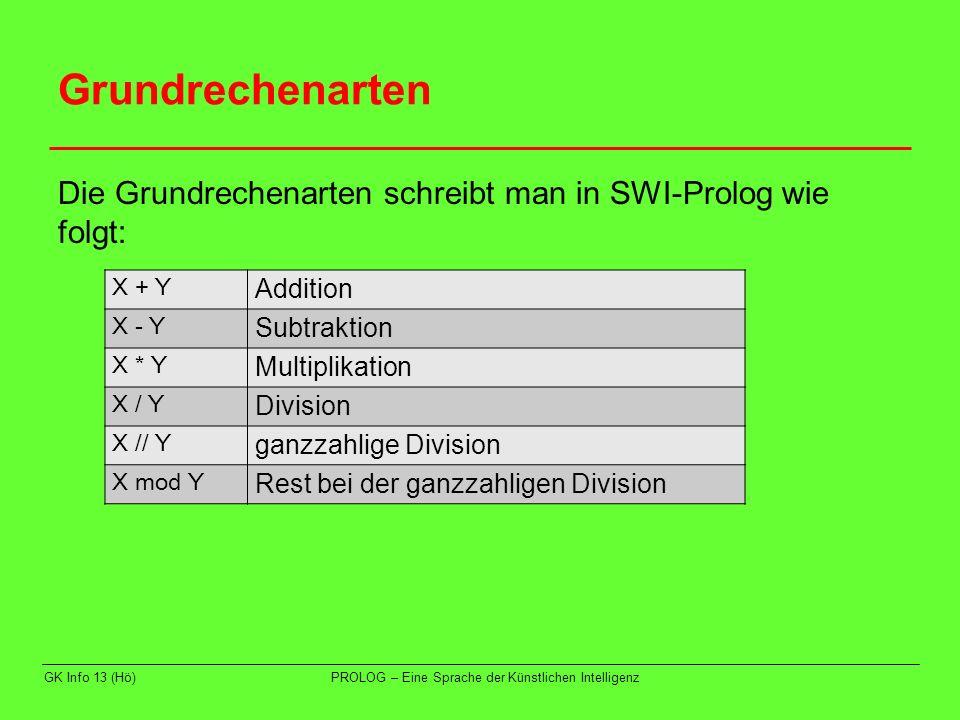 Vergleichs-Operatoren In SWI-PROLOG gibt es folgende Vergleichsoperatoren: GK Info 13 (Hö)PROLOG – Eine Sprache der Künstlichen Intelligenz X =:= Y numerisch gleich X = \ = Y numerisch ungleich X < Y numerisch kleiner X > Y numerisch größer X =< Y numerisch kleiner oder gleich X >= Ynumerisch größer oder gleich