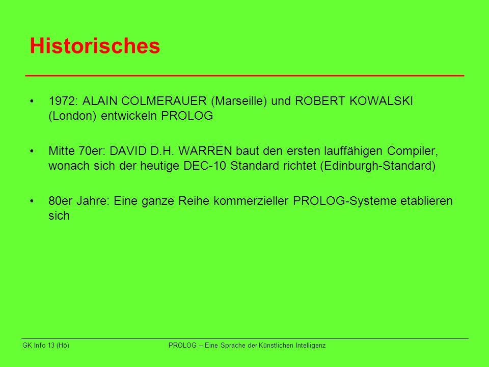 GK Info 13 (Hö)PROLOG – Eine Sprache der Künstlichen Intelligenz Beispiel 1 im SWI-PROLOG-Editor 1.