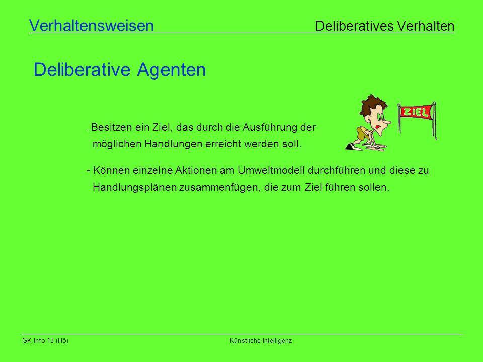 GK Info 13 (Hö)Künstliche Intelligenz Verhaltensweisen Deliberatives Verhalten Deliberative Agenten - Besitzen ein Ziel, das durch die Ausführung der
