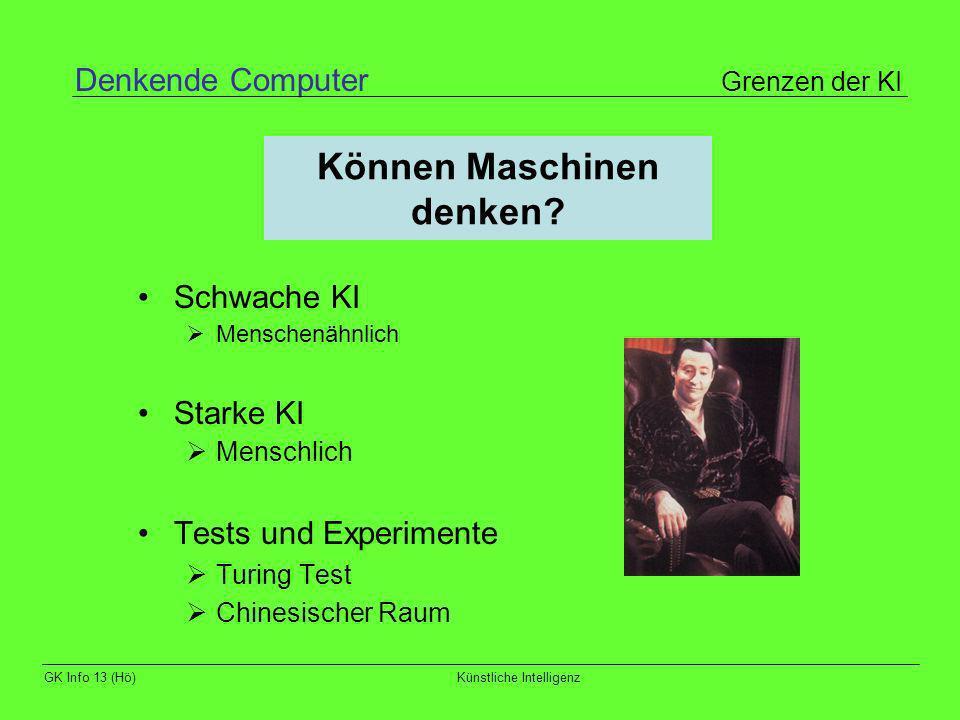GK Info 13 (Hö)Künstliche Intelligenz Können Maschinen denken? Schwache KI Menschenähnlich Starke KI Menschlich Tests und Experimente Turing Test Chin
