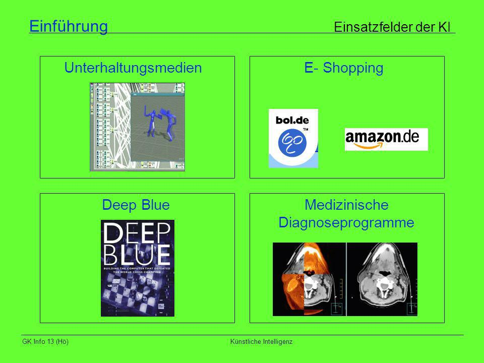 GK Info 13 (Hö)Künstliche Intelligenz Einführung Aufgaben der KI - Wissensrepräsentation und Wissensrepräsentationssprachen - Lernen - Logisches Schließen - Automatisches Beweisen - Problemlösen - Planen und Entscheiden - Kommunikation und Sprache - Anwendung
