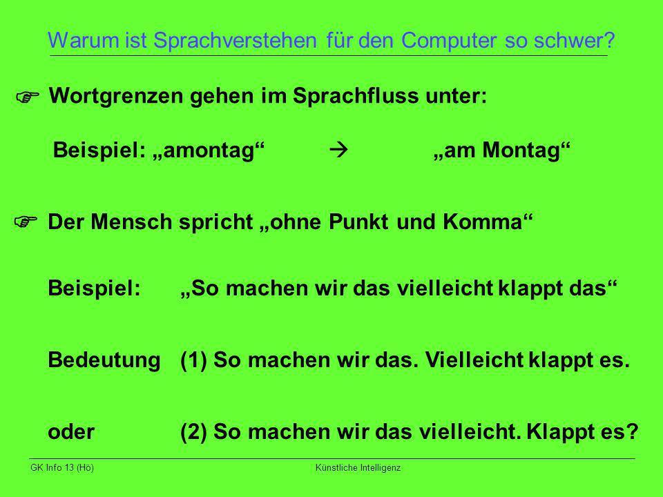 GK Info 13 (Hö)Künstliche Intelligenz Warum ist Sprachverstehen für den Computer so schwer? Wortgrenzen gehen im Sprachfluss unter: Der Mensch spricht