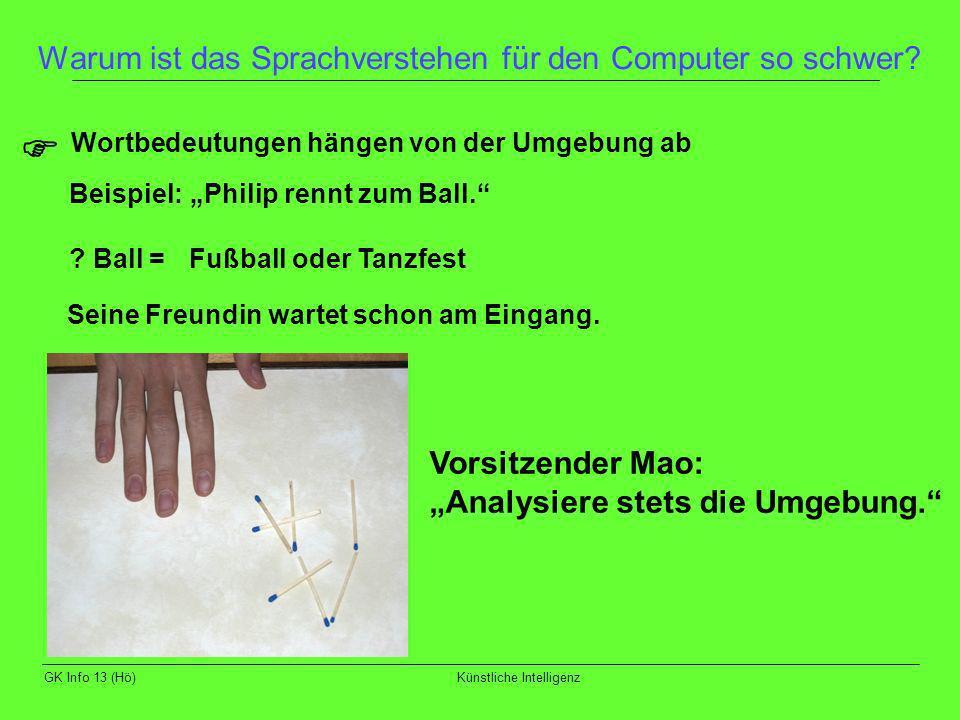 GK Info 13 (Hö)Künstliche Intelligenz Warum ist das Sprachverstehen für den Computer so schwer? Wortbedeutungen hängen von der Umgebung ab Beispiel: P