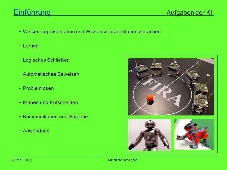 GK Info 13 (Hö)Künstliche Intelligenz Einführung Aufgaben der KI - Wissensrepräsentation und Wissensrepräsentationssprachen - Lernen - Logisches Schli