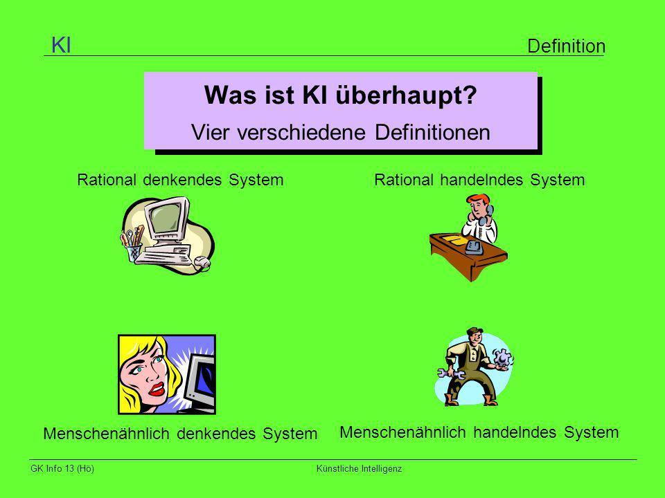 GK Info 13 (Hö)Künstliche Intelligenz Agenten Definition Aufgabe der Künstlichen Intelligenz: Konstruktion eines Systems, das menschenähnlich denken und handeln kann.