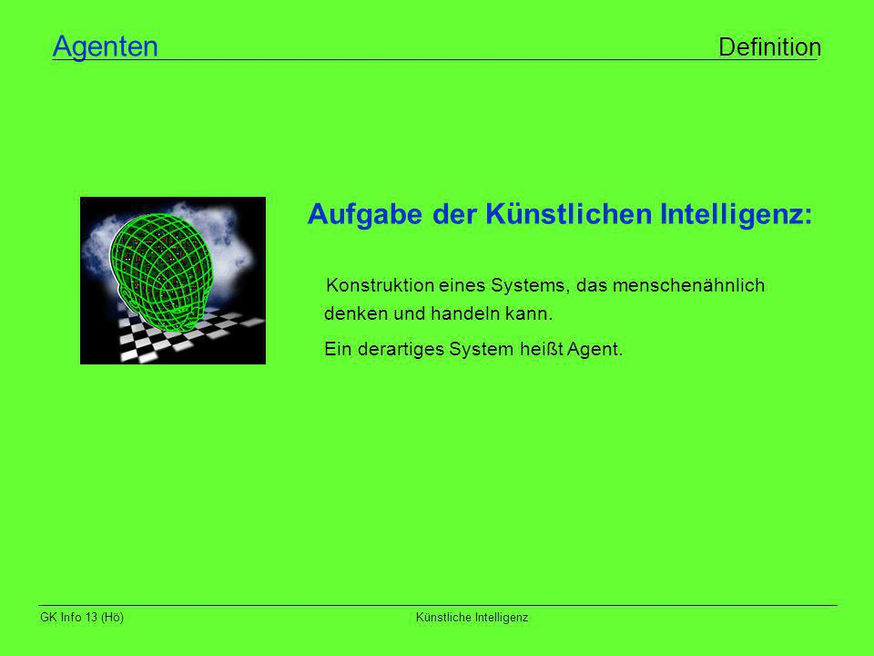 GK Info 13 (Hö)Künstliche Intelligenz Agenten Definition Aufgabe der Künstlichen Intelligenz: Konstruktion eines Systems, das menschenähnlich denken u
