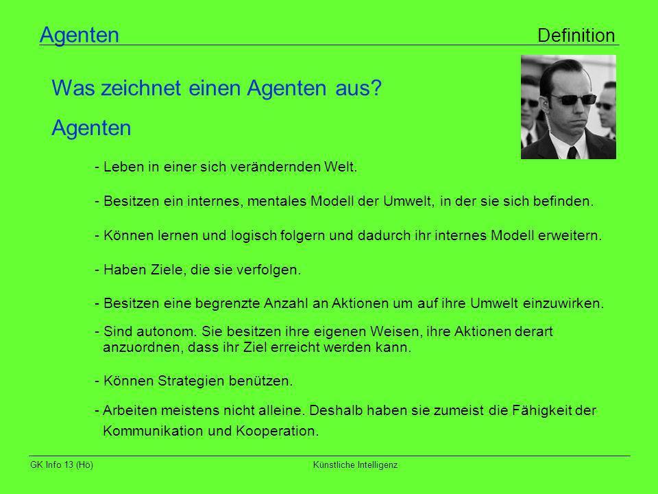 GK Info 13 (Hö)Künstliche Intelligenz Agenten Definition - Leben in einer sich verändernden Welt. - Besitzen ein internes, mentales Modell der Umwelt,