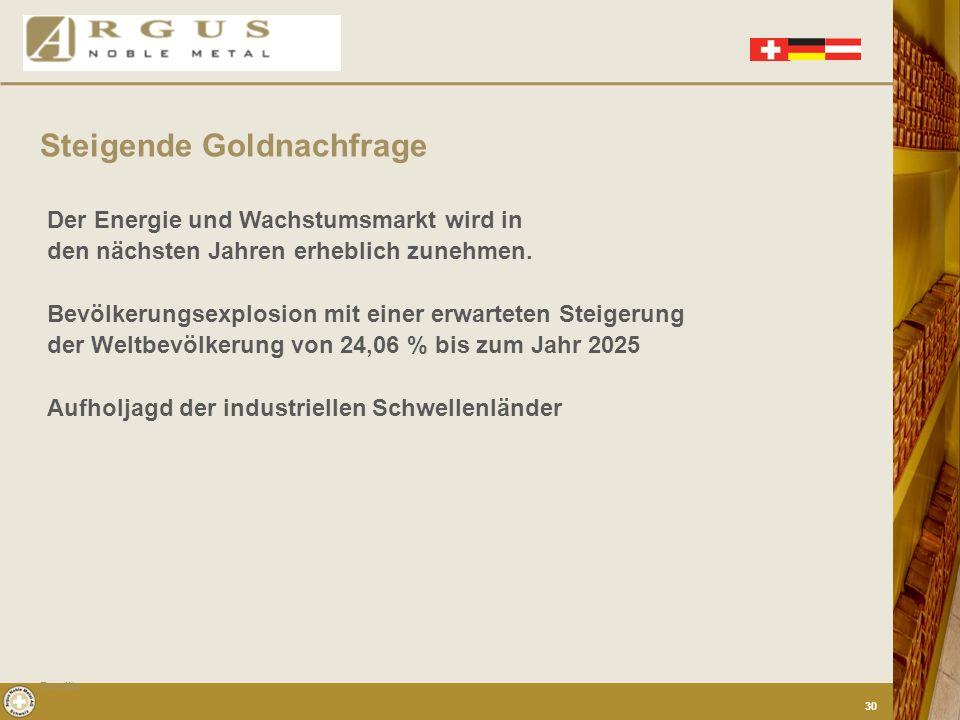 Der Staat empfiehlt seinen Bürgern Gold zu kaufen. Das Investmenthaus Merrill Lynch veröffentlichte im Juli 2005 eine Prognose, der zufolge die chines