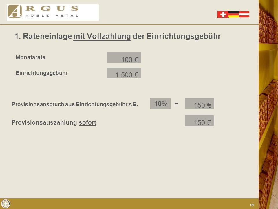 1. Einmalanlagen 2. 1. Provision in % aus dem Agio 2. Laufende Provision (Transaktionsfee) von jedem Ankauf bei kleinstmöglicher Stückelung Ratenzahle