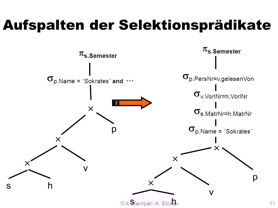 © A. Kemper / A. Eickler11 Aufspalten der Selektionsprädikate sh v p p.Name = ´Sokrates´ and... s.Semester sh v p p.PersNr=v.gelesenVon s.Semester p.N