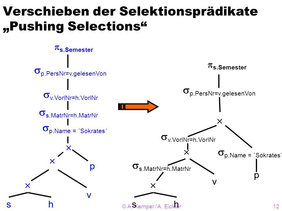 © A. Kemper / A. Eickler12 Verschieben der Selektionsprädikate Pushing Selections sh v p p.PersNr=v.gelesenVon s.Semester p.Name = `Sokrates` s.MatrNr