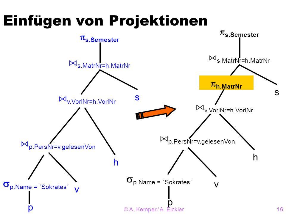 © A. Kemper / A. Eickler16 Einfügen von Projektionen s h v p A s.MatrNr=h.MatrNr A p.PersNr=v.gelesenVon s.Semester p.Name = ´Sokrates´ A v.VorlNr=h.V