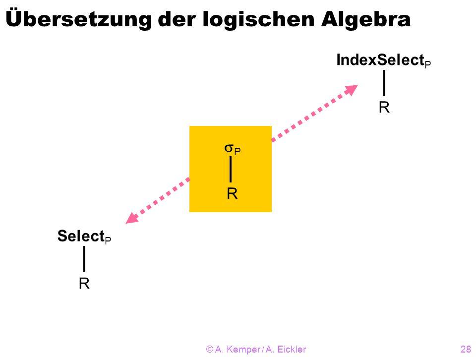 © A. Kemper / A. Eickler28 Übersetzung der logischen Algebra P R Select P R IndexSelect P R