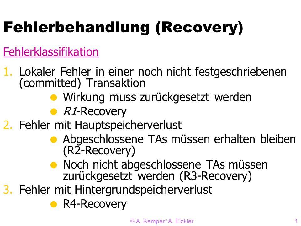 © A. Kemper / A. Eickler1 Fehlerbehandlung (Recovery) 1.Lokaler Fehler in einer noch nicht festgeschriebenen (committed) Transaktion Wirkung muss zurü