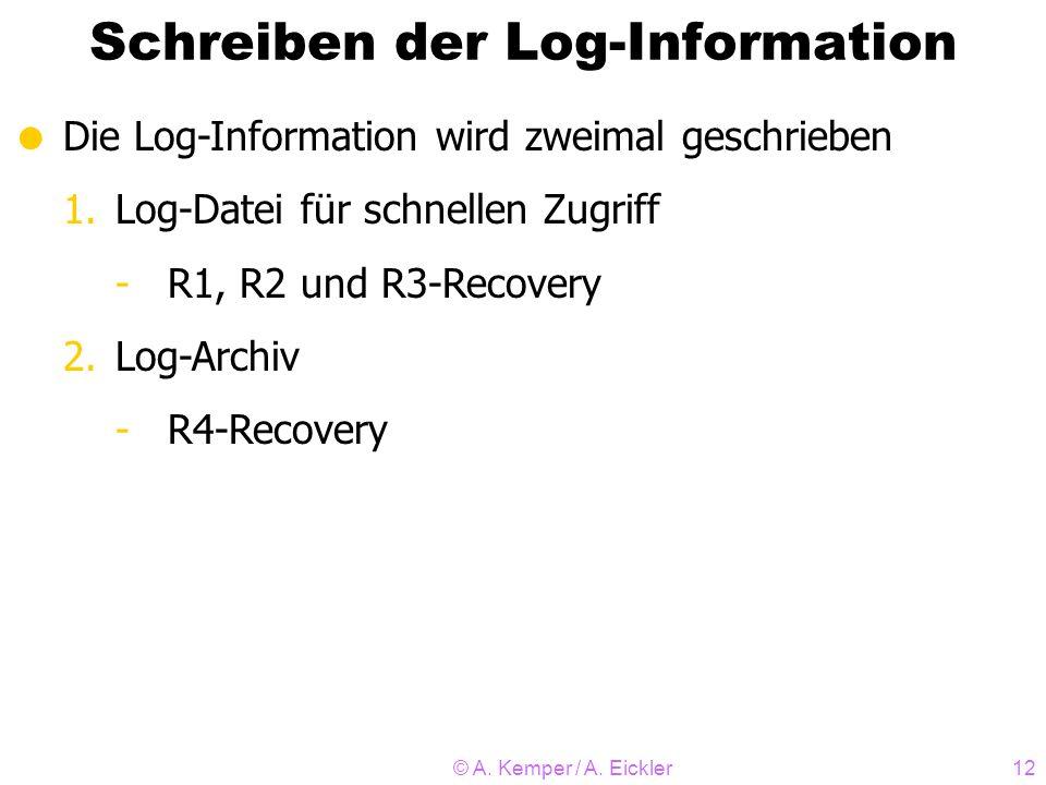 © A. Kemper / A. Eickler12 Schreiben der Log-Information Die Log-Information wird zweimal geschrieben 1.Log-Datei für schnellen Zugriff -R1, R2 und R3