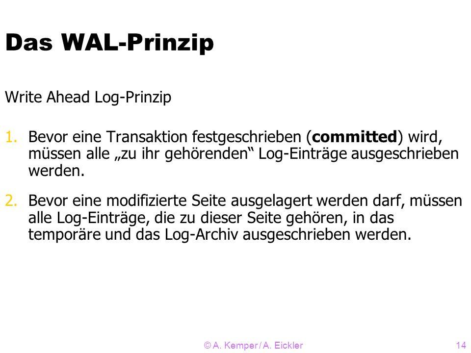 © A. Kemper / A. Eickler14 Das WAL-Prinzip Write Ahead Log-Prinzip 1.Bevor eine Transaktion festgeschrieben (committed) wird, müssen alle zu ihr gehör
