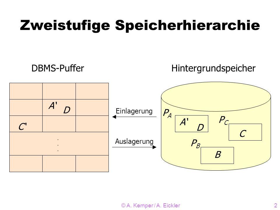 © A. Kemper / A. Eickler2 Zweistufige Speicherhierarchie...... C A D DBMS-Puffer A D C B PAPA PBPB PCPC Hintergrundspeicher Einlagerung Auslagerung