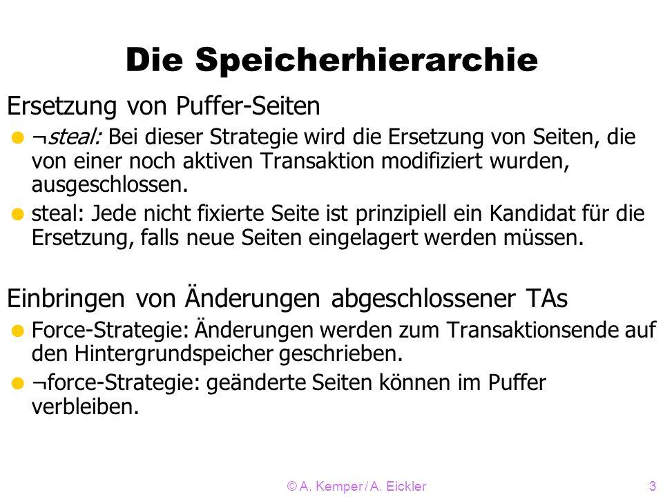 © A. Kemper / A. Eickler3 Die Speicherhierarchie Ersetzung von Puffer-Seiten ¬steal: Bei dieser Strategie wird die Ersetzung von Seiten, die von einer